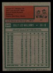 1975 Topps #545  Billy Williams  Back Thumbnail