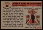 1956 Topps #82  Jack Simmons  Back Thumbnail
