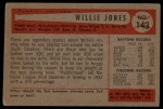 1954 Bowman #143  Willie Jones  Back Thumbnail