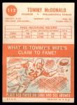1963 Topps #112  Tommy McDonald      Back Thumbnail