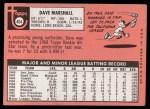 1969 Topps #464 WN Dave Marshall  Back Thumbnail