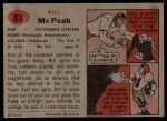 1957 Topps #51  Bill McPeak  Back Thumbnail