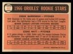 1966 Topps #442   -  Eddie Watt / Ed Barnowski Orioles Rookies Back Thumbnail
