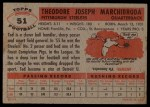 1956 Topps #51  Ted Marchibroda  Back Thumbnail