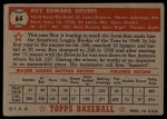1952 Topps #64  Roy Sievers  Back Thumbnail