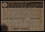 1952 Topps #76  Eddie Stanky  Back Thumbnail