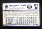 1972 Kellogg's #18  Joe Coleman  Back Thumbnail