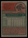 1975 Topps #22  Dave Cash  Back Thumbnail