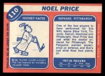 1968 Topps #110  Noel Price  Back Thumbnail