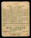 1933 Goudey #52  Andy Cohen  Back Thumbnail