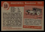 1954 Topps World on Wheels #13   Maxwell Roadster 1911 Back Thumbnail