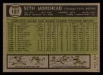 1961 Topps #107 CUT Seth Morehead  Back Thumbnail