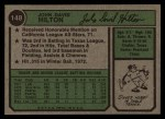 1974 Topps #148 WAS Dave Hilton  Back Thumbnail