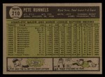 1961 Topps #210  Pete Runnels  Back Thumbnail