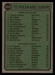 1974 Topps #204   -  Tommy Harper / Lou Brock SB Leaders   Back Thumbnail