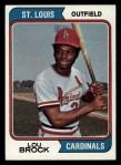 1974 Topps #60  Lou Brock  Front Thumbnail