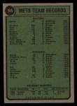 1974 Topps #56   Mets Team Back Thumbnail