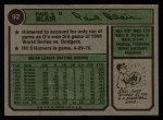 1974 Topps #92  Paul Blair  Back Thumbnail