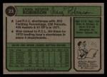 1974 Topps #23  Craig Robinson  Back Thumbnail