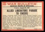 1965 Philadelphia War Bulletin #50   Paris Freed Back Thumbnail