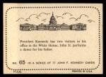 1964 Topps JFK #65   President With Caroline & John Jr. Back Thumbnail