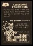 1966 Topps Batman -  Riddler Back #22 RID  Awesome Foursome Back Thumbnail