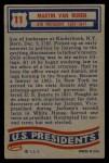 1956 Topps U.S. Presidents #11  Martin Van Buren  Back Thumbnail