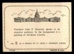 1964 Topps JFK #5   JFK Speaks To Audience Back Thumbnail
