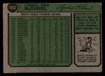 1974 Topps #182  Lindy McDaniel  Back Thumbnail