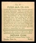 1933 Goudey Indian Gum #97   Push-Ma-Ta-Ha  Back Thumbnail