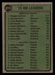 1974 Topps #203   -  Reggie Jackson / Willie Stargell RBI Leaders   Back Thumbnail