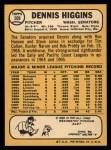 1968 Topps #509  Dennis Higgins  Back Thumbnail