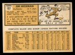 1963 Topps #107  Jim Hickman  Back Thumbnail