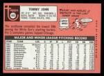 1969 Topps #465  Tommy John  Back Thumbnail