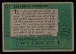 1956 Topps Davy Crockett #72 GRN  Breaking Through  Back Thumbnail