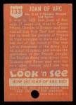 1952 Topps Look 'N See #133  Joan of Arc  Back Thumbnail