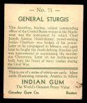 1933 Goudey Indian Gum #71  General Sturgis   Back Thumbnail