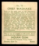 1933 Goudey Indian Gum #73  Chief Washakie   Back Thumbnail