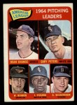 1965 Topps #9   -  Wally Bunker / Dean Chance / Gary Peters / Juan Pizarro / Dave Wickersham AL Pitching Leaders Front Thumbnail