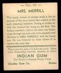1933 Goudey Indian Gum #65  Mrs. Merrill   Back Thumbnail