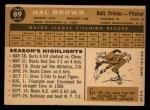 1960 Topps #89  Hal Brown  Back Thumbnail