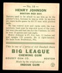 1933 Goudey #14  Henry Johnson  Back Thumbnail