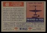 1952 Topps Wings #48   C-123 Avitruk Back Thumbnail
