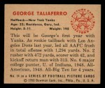 1950 Bowman #14  George Taliaferro  Back Thumbnail
