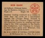 1950 Bowman #54  Bob Gage  Back Thumbnail