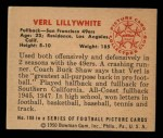 1950 Bowman #108  Verl Lillywhite  Back Thumbnail