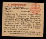 1950 Bowman #118  Clayton Tonnemaker  Back Thumbnail