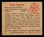1950 Bowman #70  Paul Salata  Back Thumbnail