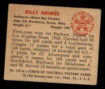 1950 Bowman #120  Billy Grimes  Back Thumbnail