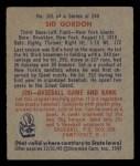 1949 Bowman #101  Sid Gordon  Back Thumbnail